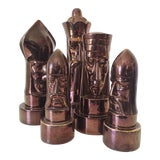 Image of 1940s Peter Ganine Metallic Copper-Colored Ceramic Chess Pieces - Set of 5 For Sale