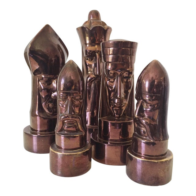 1940s Peter Ganine Metallic Copper-Colored Ceramic Chess Pieces - Set of 5 For Sale