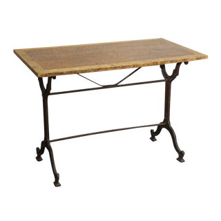 20th Century French Wood & Cast Iron Bistro Table For Sale