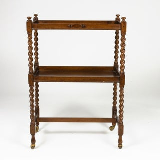 Handsome English Oak Bar Cart With Carved Barley Twist Columns and Brass Casters, Circa 1880. Preview