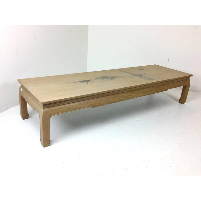 Bleached Mahogany Ming Coffee Table With Inlaid Bamboo Leaf Design For Sale - Image 4 of 6