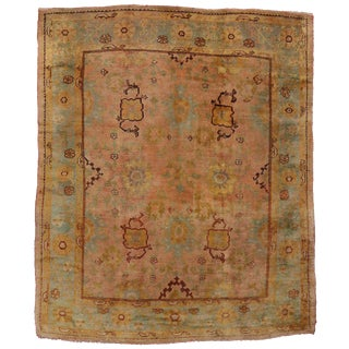 Antique Turkish Oushak Area Rug with Modern Style in Time Softened Colors For Sale