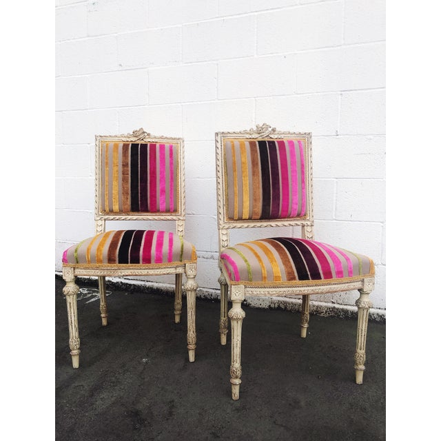 French Antique French 19th Century Louis XVI Side or Hall Chairs - Set of 2 For Sale - Image 3 of 11