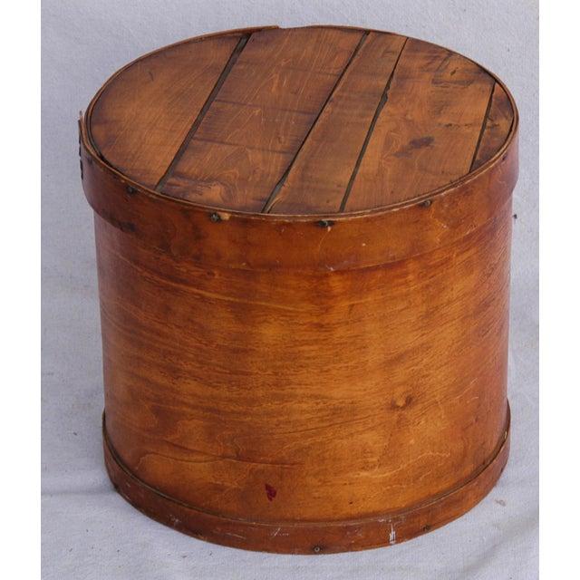 Vintage Rustic Round Wood Lidded Box - Image 3 of 11