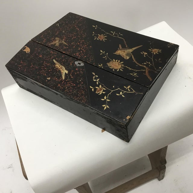 19th Century Antique Japanese Lacquer Box / Lap Desk For Sale - Image 10 of 13
