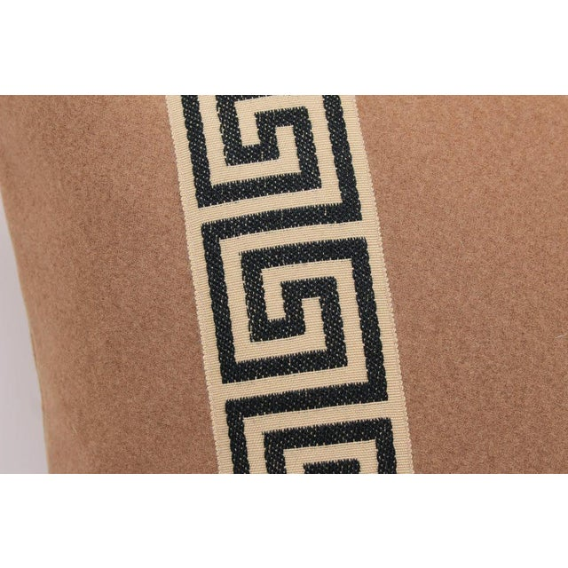 2010s Camel Wool Blend Greek Key Trim Pillows, a Pair For Sale - Image 5 of 8