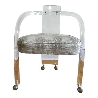 1970s Charles Hollis Jones Style Lucite Arm Chair For Sale