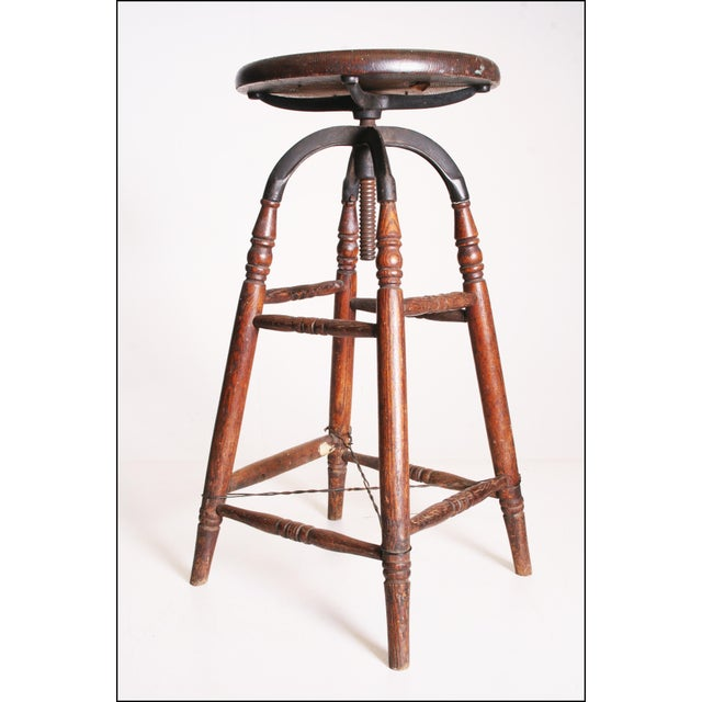 Vintage Industrial Wood & Cast Iron Adjustable Counter Stool - Image 4 of 11