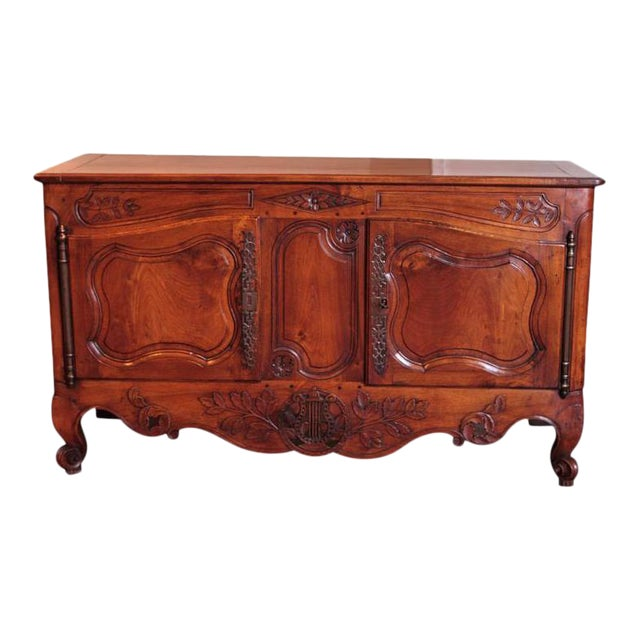 18th Century French Louis XV Carved Walnut Two-Door Buffet from Provence For Sale
