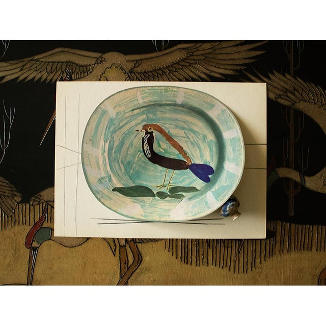 Modern 1955 Pablo Picasso Polychrome Bird Ceramic Plate, Original Period Swiss Lithograph For Sale - Image 3 of 6