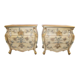 French Provincial Bombe Nightstands - a Pair