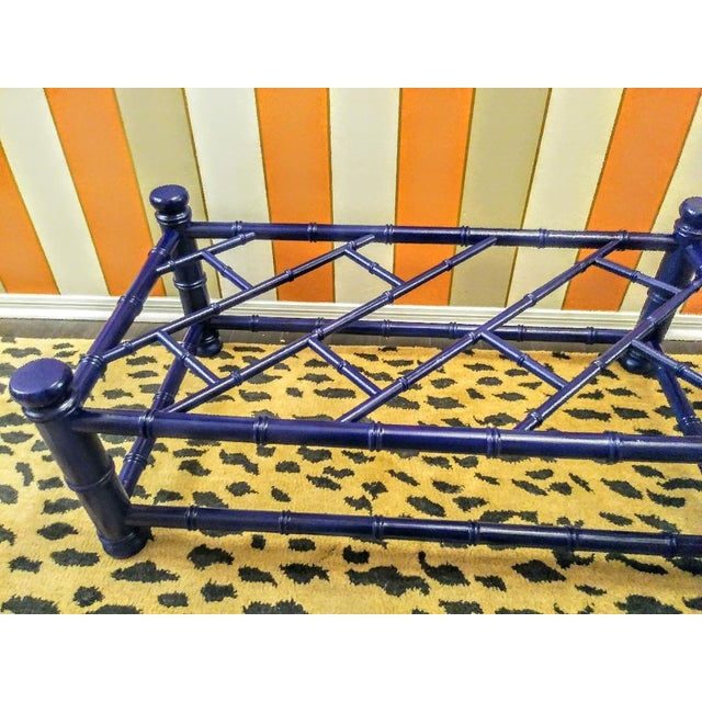 Wood Palm Beach Regency Faux Bamboo Chippendale Painted Gloss Navy Blue Rectangular Coffee Table For Sale - Image 7 of 11