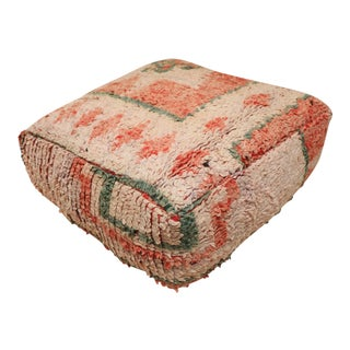 Vintage Moroccan Floor Pouf Cover For Sale