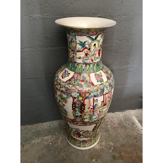 Famille Rose Large Porcelain Vase For Sale - Image 4 of 6