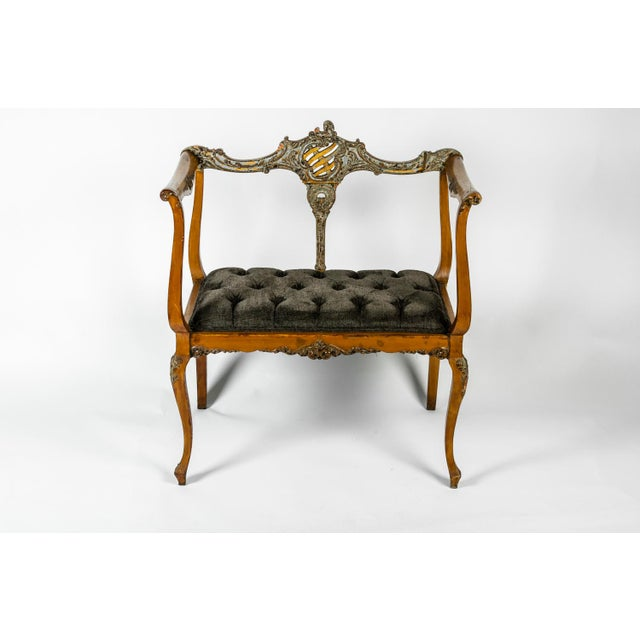 Textile Antique French Entry Bench For Sale - Image 7 of 7