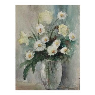 Floral Still Life Watercolor Painting, M Ellis For Sale