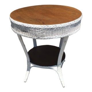 Heywood Wakefield Wicker Round Table For Sale