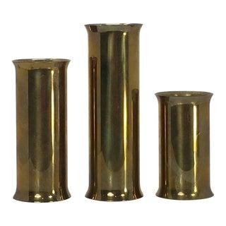 Three Modernist Brass Candle Holder, Gold Candleholder, Votive Candlestick Holder, Danish Design Home Decor, Vintage Bohemian Boho Bud Vases For Sale