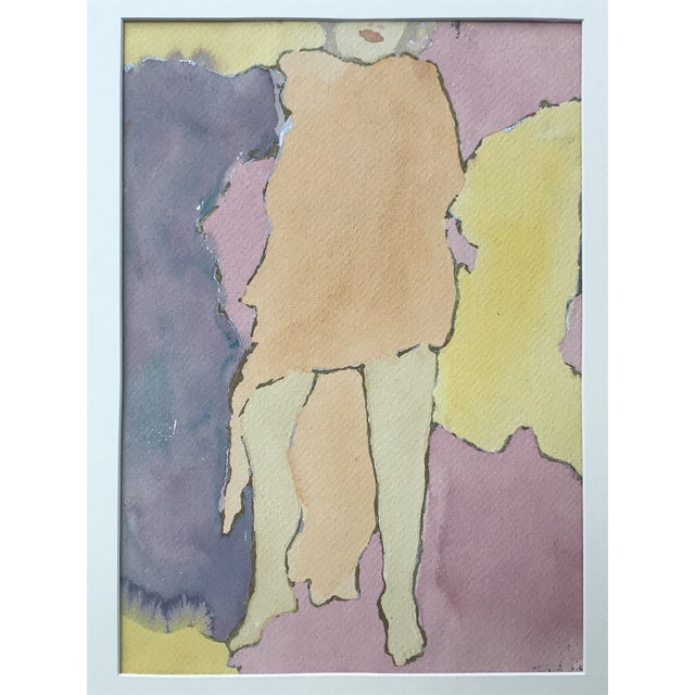Mid Century Watercolor Figurative Abstract Signed For Sale - Image 4 of 6