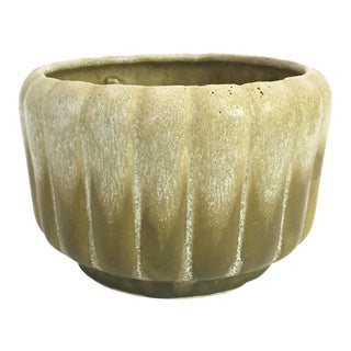 Mid Century Green Drip Pottery Planter For Sale