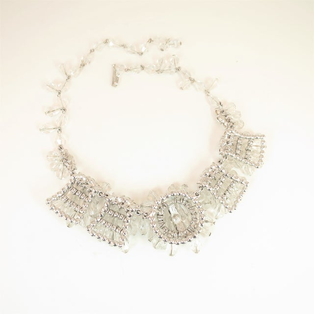 Transparent Mid-Century Hand-Made Austrian Crystal Cluster Necklace Suite 1950 For Sale - Image 8 of 13