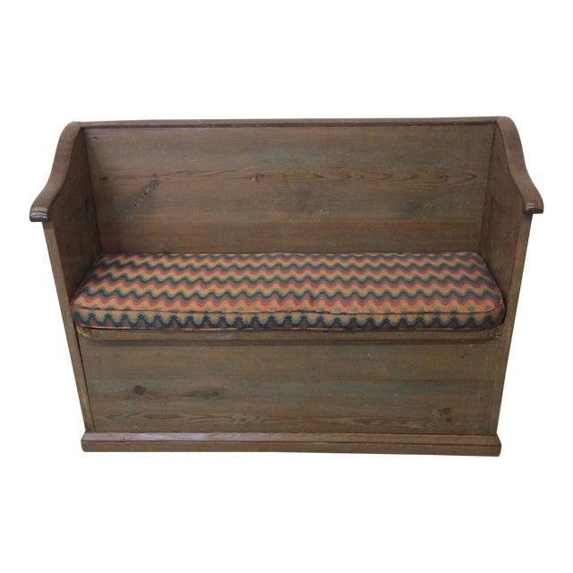 High Back Pickled Wood Bench For Sale