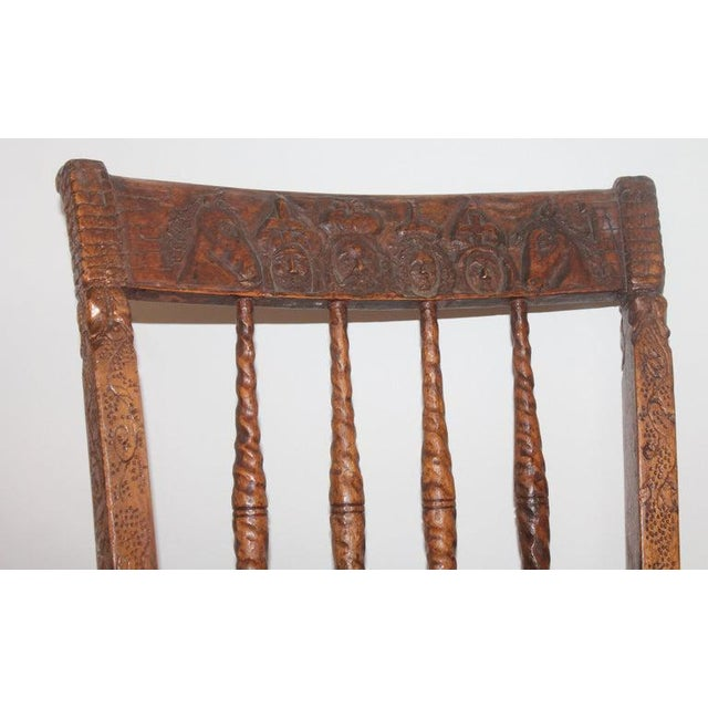 Country 19th Century Handmade English Chess Carved Chair For Sale - Image 3 of 10