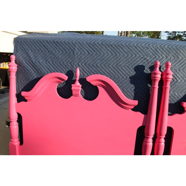 1990s Hollywood Regency / Neo Classic / Geogian Glam Gloss Pink Twin Headboards - a Pair For Sale - Image 5 of 12