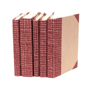 Bespoke Red Tartan Books - Set of 5 For Sale