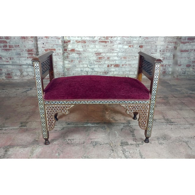 Fabulous Syrian Bench Mother of Pearl Inlaid W/Burgundy Upholstery For Sale - Image 10 of 10