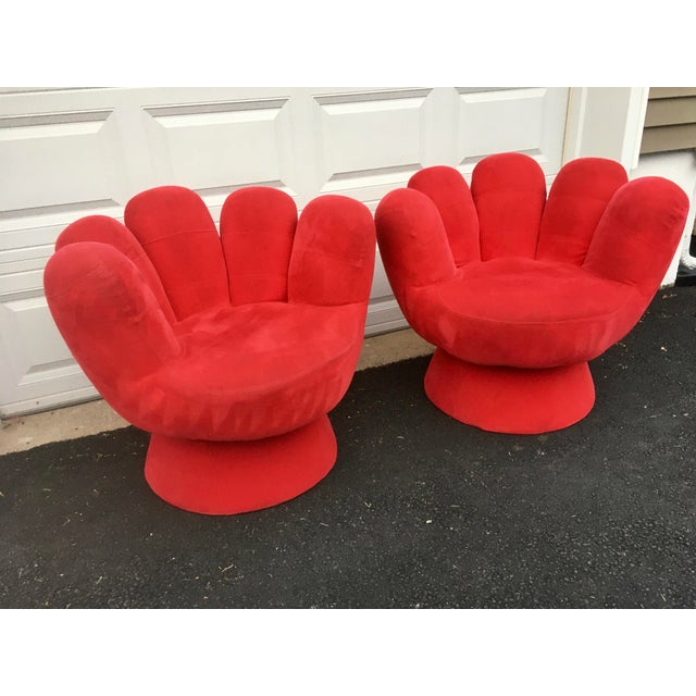 Vintage Contemporary Red Hand Chair- a Pair For Sale - Image 4 of 11