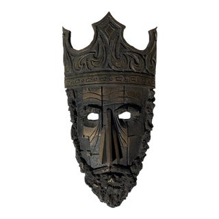 Mid-Century Brutalist Bronze Mask For Sale