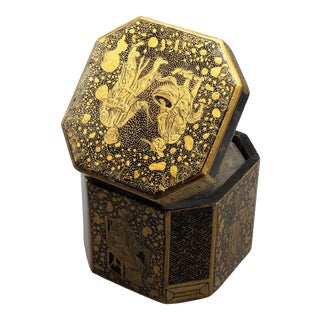 Antique Chinese Export Chinoiserie Tea Caddy For Sale