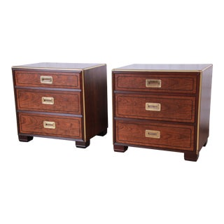 Baker Furniture Hollywood Regency Walnut and Brass Campaign Style Nightstands, Pair For Sale