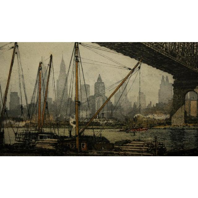 1930s Luigi Kasimir -Queensborough Bridge New York-Original Color Etching C.1936 For Sale - Image 5 of 10