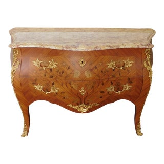 French Louis XVI Inlaid Boxwood Marble Top Ormolu Mounted 2 Drawer Commode C1970s For Sale