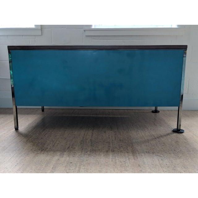 Chrome Teal Steelcase Tanker Desk For Sale - Image 7 of 9