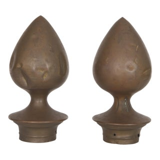 Extra Large Industrial Metal Copper Finials - a Pair For Sale