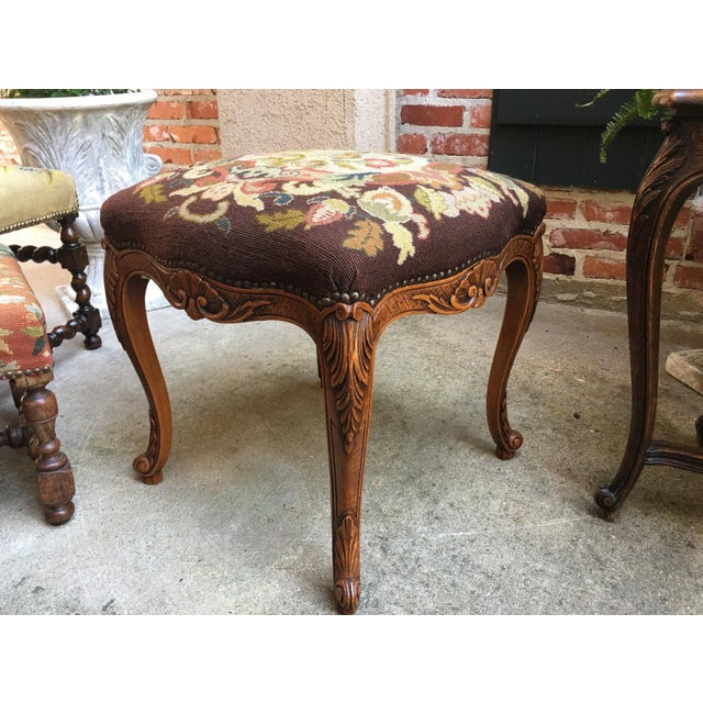 1900s Antique French Carved Oak Stool/Bench For Sale - Image 10 of 10