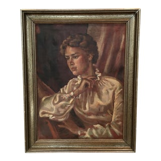 Mid-Century Original Oil Female Portrait