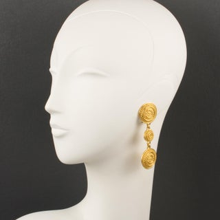 Christian Dior Paris Signed Dangling Clip Earrings Textured Gilt Metal Preview