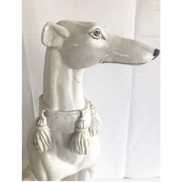 Large Scale Vintage Italian Whippet Dog Sculpture With Tassel Collar Sitting on Pillow For Sale - Image 10 of 13