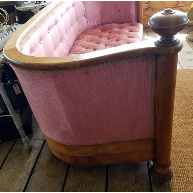Beautifully constructed, tufted pink velvet upholstery. Large maple front posts with finials. Maple skirt around the...