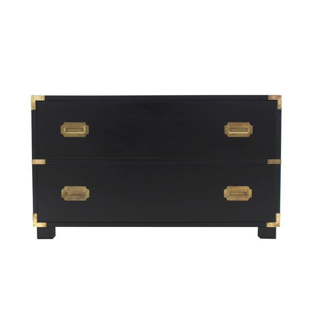 Two Drawer Baker Low Campaign Chest of Drawers Brass Pulls Hardware For Sale - Image 9 of 9