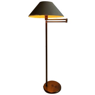 Early Walter Von Nessen Bronze Swing Arm Floor Lamp For Sale