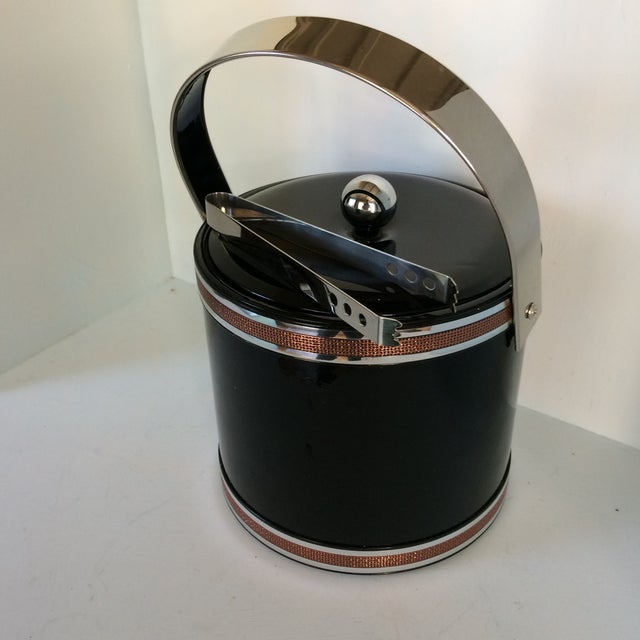 Georges Briard Black Vinyl & Chrome With Copper Tone Bands Ice Bucket and Tongs For Sale - Image 11 of 13