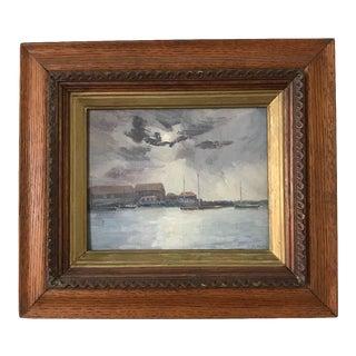 """1910s """"Sakonnet Harbor"""" Seascape Oil Painting, Framed For Sale"""