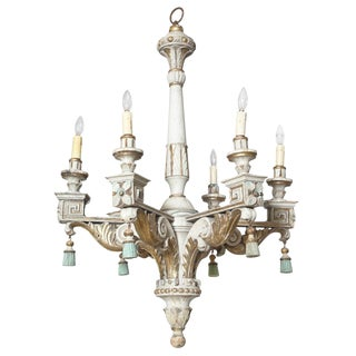 18th/19th Century Polychromed & Parcel Gilt Wooden Chandelier For Sale