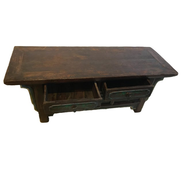 1900 - 1909 Tibetan Brown Drawers Low Altar Table Chest For Sale - Image 5 of 8