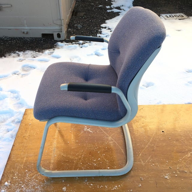 Classic mid-century Steelcase cantilever chair in original Mauve fabric signed circa 1980s